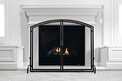 Barton Single Panel 39x33in Wrought Iron Mesh Fireplace Screen Gate Fire Spark Guard Gate for Home w/Hinged Magnetic Doors, Black by Barton