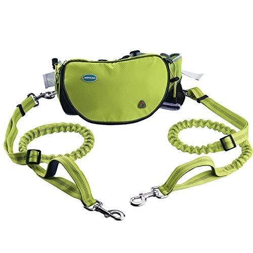 ThinkPet Jogging Hundeleine, Hände Frei Hundeleinen Set Laufen für 2 Hunde,Sport Laufgürtel Leine elastisch, Joggingleine reflektierend mit verstellbarem Hüftgurt Bungee Leine zum handfreien