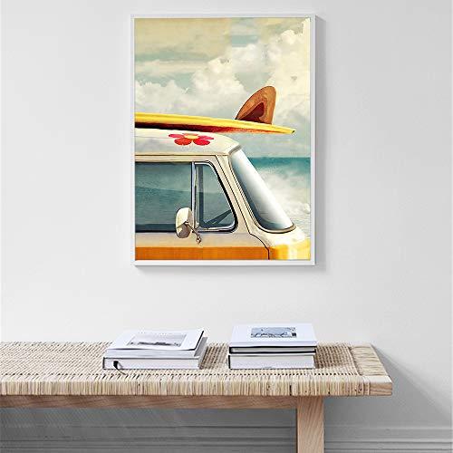 zgldx73 Landschaft Leinwand Surfen Bus Ölgemälde HD-Druck Wandmalerei Wohnzimmer Wohnkultur Seestück Poster Malerei50x70 cm ohne Rahmen