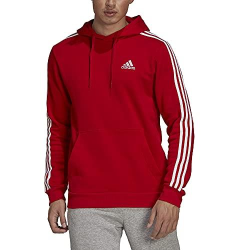 adidas M 3S FL HD Sweatshirt, Scarlet/White, L Mens