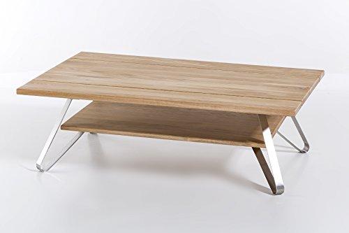 Massivholz Couchtisch VETUS aus Wildeiche, Wohnzimmertisch aus Holz mit 3-teiliger Tischplatte, Beistelltisch inkl. Ablageboden, Tisch 115 x 75 cm