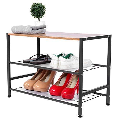 Greensen Zapatero Banco para Zapatos Estantería para Zapatos De 3 Niveles Organizador Industrial De Almacenamiento De Zapatos Ideal para Entrada, Pasillo, Armario, Dormitorio