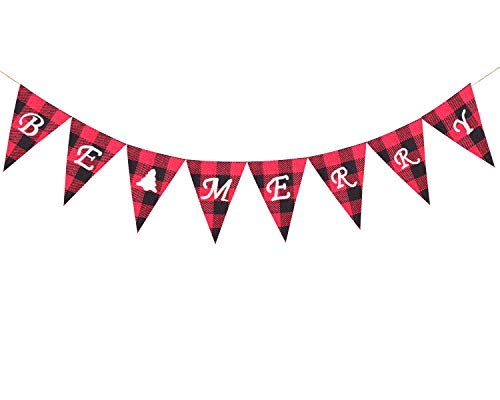 Worform Be Merry Tartan Check Burlap Banners Christmas Decor,Red Black Check Banner Garlands for Christmas Decorations