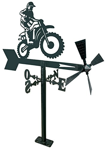 Arthifor Veleta de Viento para Jardín Motocross, Negro Mate