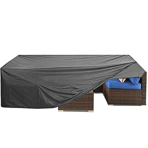 """Patio Furniture Cover, Outdoor Sectional Furniture Cover,Cover for Wicker Patio Sectional Couch Cover Table and Chair Covers Lounge Porch Sofa Cover Protective Waterproof Gray 126"""" L×64"""" W×29"""" H"""