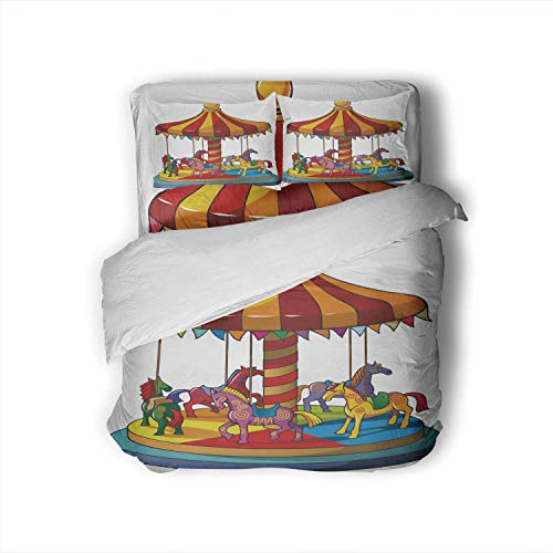 C COABALLA Children Carousel with Horses,Full Size Cotton Sateen Sheet Set - 4 Piece - Supersoft Merry go Round Full