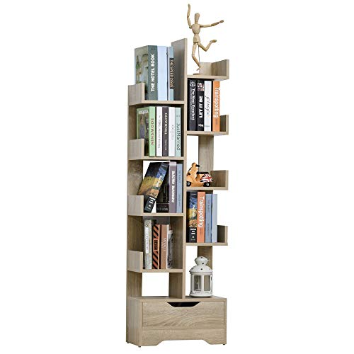 HOMCOM Bücherregal mit 10 Fächer und Schublade, Standregal, Eckbücherregal, E1 Spanplatte, 46 x 20 x 151 cm