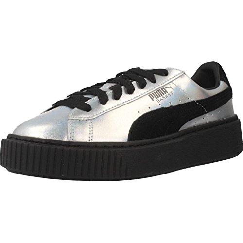 PUMA Damen Basket Platform Explosive Plateau-Schuhe Sneaker Silber 39 EU