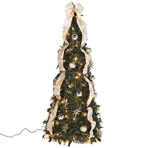 HOLIDAY PEAK 4' Silver & Gold Pull-Up Christmas Tree, Pre-Lit and Fully Decorated, Collapses for Easy Storage