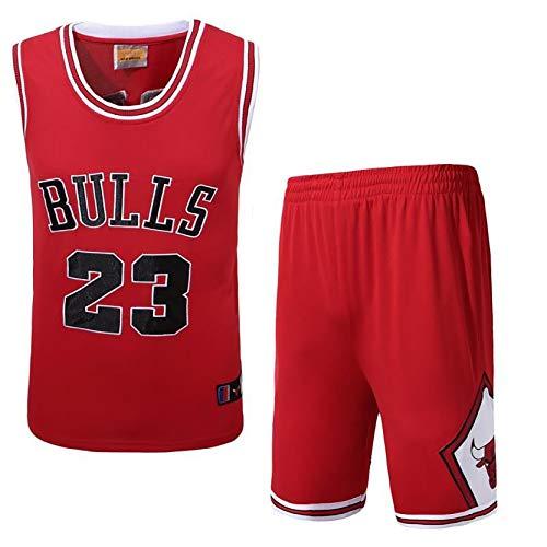 DSASAD Traje de Camiseta de Baloncesto para Hombres, toros # 23 Michael Jordan Baloncesto, Chaleco + Pantalones Cortos, Secado rápido y Transpirable, l Red-M