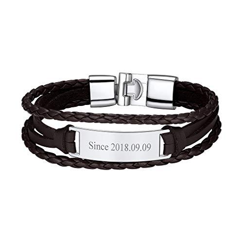 Custom4U Bracelet Cuir Homme Personnalisé,Gourmette à Graver Prénom 20cm,Bijoux Cadeau Anniversaire Noel pour Hommes Garçons
