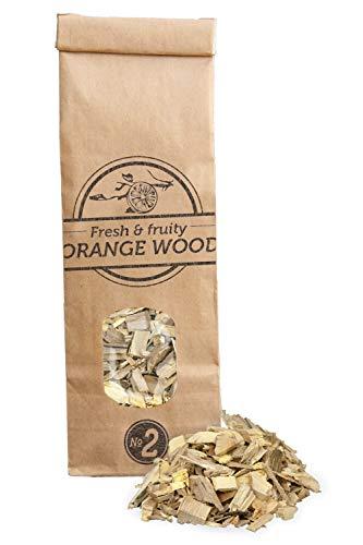 Smokey Olive Wood 500mL de copeaux d'oranger. Taille des copeaux 5mm-1cm