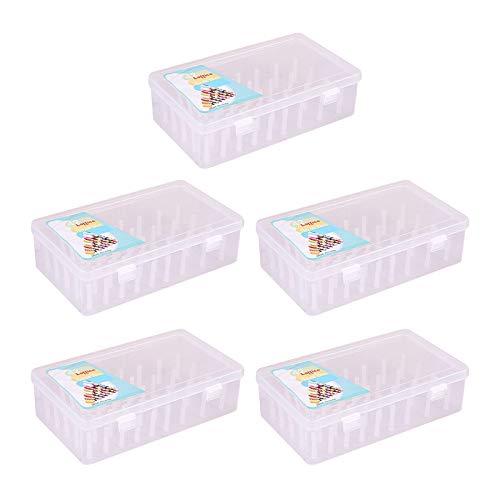 Almencla Caja de Hilo Grande de 5 Uds, Contenedor de Almacenamiento Transparente Vacío, Soporte para Hilo de Coser