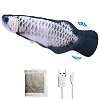 キャットニップ電気おもちゃの魚、リアルなぬいぐるみシミュレーション電気ワギングインタラクティブ魚猫のおもちゃUSB充電式ウォッシャブル噛む噛むと蹴る,B fisch