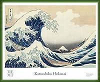 ポスター ホクサイ The Great Wave 富嶽三十六景・神奈川沖波裏 額装品 ウッドベーシックフレーム(グリーン)