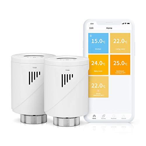 Válvula Termostática Inteligente Meross, Termostato de Calefacción Programable, M30*1,5, Compatible con Alexa, Google Assistant e IFTTT, MTS100 (Paquete de 2)