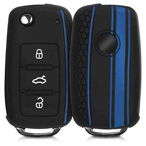 kwmobile Autoschlüssel Hülle kompatibel mit VW Skoda Seat 3-Tasten Autoschlüssel - Silikon Schutzhülle Schlüsselhülle Cover Rallystreifen Sidelines Blau Schwarz Blau