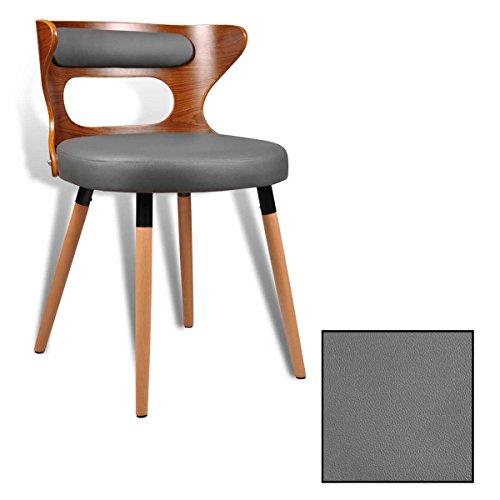 ESTEXO 1/2/4/6/8x Retro - eetkamerstoel met walnoot Funier model Frieso, stoelen, kunstleer, grijs, stoel, stoelgroep, keukenstoelen Retro 2 Stück grijs