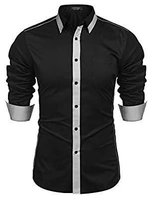COOFANDY Men's Long Sleeve Patchwork Plaid Dress Shirt Slim Fit Casual Button Down Shirt