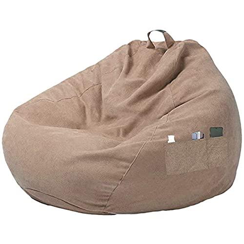Greatangle-UK Estilo Simple Bolsa de Frijoles ordinaria Funda de sofá Bolsa de Frijoles Silla Funda de sofá sin Relleno con Tres Bolsillos Laterales Lino marrón S
