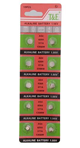 Dielay 10 Stück Batterien Knopfzelle AG4 Uhrenbatterie Alkaline 1,55 Volt