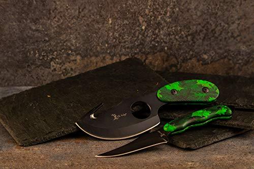 Elk Ridge - Outdoors 2-PC Fixed Blade Hunting Knife Set - Black Stainless Steel Skinner and Gut Hook Blades, Camo Coated Nylon Fiber Handles, Nylon Sheath - Hunting, Camping, Survival - ER-300CA