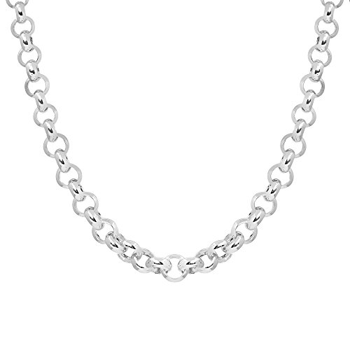Silverly Women's .925 Sterling Silver Polished 6 mm Belcher Rolo Chain Toggle Bar Necklace, 18'