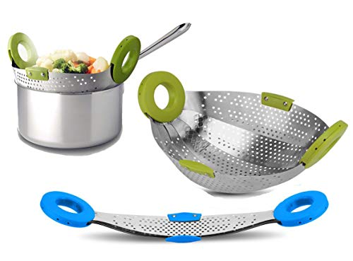 Impulse International Stainless Steel with ABS Plastic 5-in-1 Collapsible Colander Strainer, Fruit...