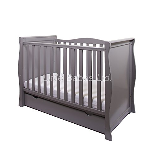 New Pinewood Grey Sleigh Mini COT Bed & Drawer + British Made HIGH Density Foam Safety Mattress - Baby COT Transfer to Junior Bed