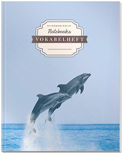 DÉKOKIND Vokabelheft | DIN A4, 84 Seiten, 2 Spalten, Register, Vintage Softcover | Dickes Vokabelbuch | Motiv: Delphine