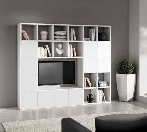Legno&Design Meuble mural avec meuble TV pour séjour, blanc frêne 25 éléments 11 portes