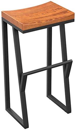 JYV. Sgabello Industriale Sgabello Seggiolone con poggiapiedi Sedie da Pranzo sgabelli per Cucina  Pub  .Cafe Sgabelli Sedile in Legno Gambe in Metallo Nero (Color : 63cm)