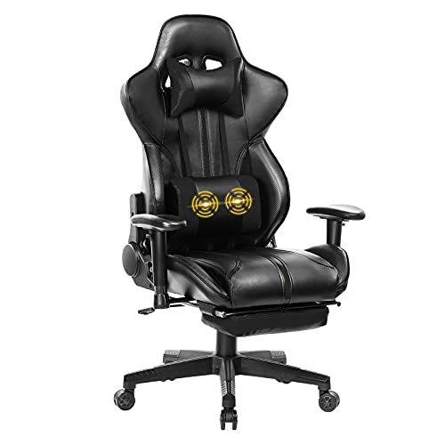 Blue Whale Gaming Chair Super Big and Tall PC Computer Game Chair with Footrest Racing Desk Chair Ergonomic Office Chair High Back PU Leather Computer Game Chair with Massage Lumbar Support