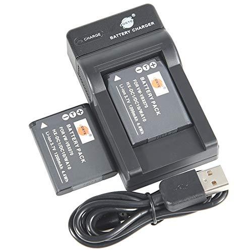 DSTE VW-VBX070 Li-Ion Batería (2 Paquetes) Traje y Cargador Micro USB Compatible con Panasonic HX-DC1 HX-DC10 HX-DC10EB-K HX-DC10EF-K HX-DC10GK HX-DC15 HX-DC1EB-H