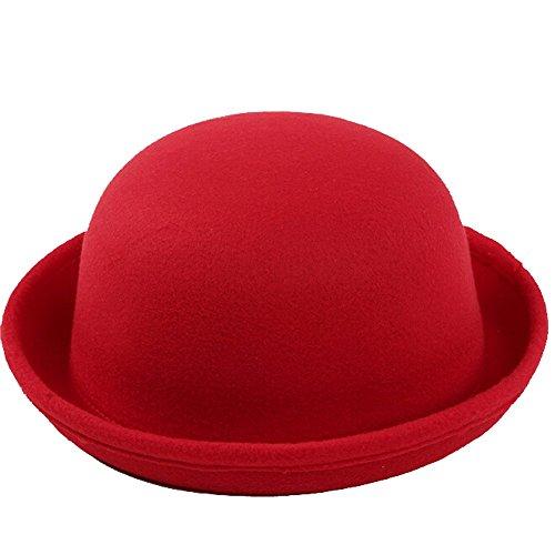 Fletion Femmes Enfants Hiver Laine Feutre rouleau Brim Billycock Cloche Bucket Bowler Derby Fedora Hat(Rouge)