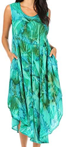 Sakkas 16801 - Laeila Tie Dye Lavato Alto Senza Maniche Canotta Caftano Dress/Cover Up - Verde/Grigio - OS