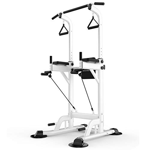 Lovinouse Power Tower Dip Station Pull Up Bar, Support 661 Lbs, for Home Gym Strength Training Workout (White)