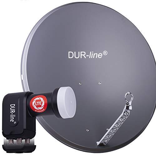 DUR-line 4 Teilnehmer Set - Qualitäts-Alu-Satelliten-Komplettanlage - Select 85cm/90cm Spiegel/Schüssel Anthrazit + Quad LNB - für 4 Receiver/TV [Neuste Technik, DVB-S2, 4K, 3D]