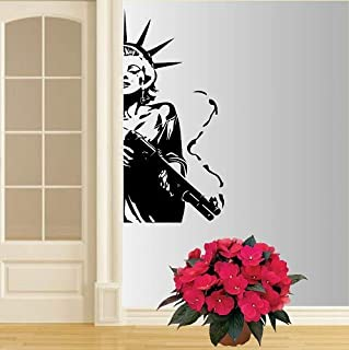 Wall Vinyl Decal Home Decor Art Sticker Beautiful Sexy Girl Gun Shooting Room Removable Stylish Mural Unique Design