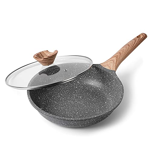 Sartén Antiadherente de 28CM, Aluminio Fundido Sartenes para Saltear, para Todo Tipo de Cocinas Incluida Inducción y Vitrocerámica, Contiene Tapa de Vidrio Templado. (Gris, 28_cm+Tapa de Vidrio)