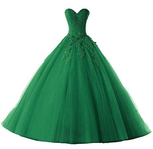 Vantexi Damen Liebsten Lang Spitze Tüll Abschlussballkleid Ballkleid Festkleider Smaragd Größe 38