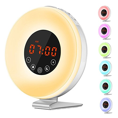 KULSAO Wake Up Light Lichtwecker LED Licht Wecker Sonnenaufgang Weiß mit FM Radio 7 Farblicht 10 Helligkeitsstufen New