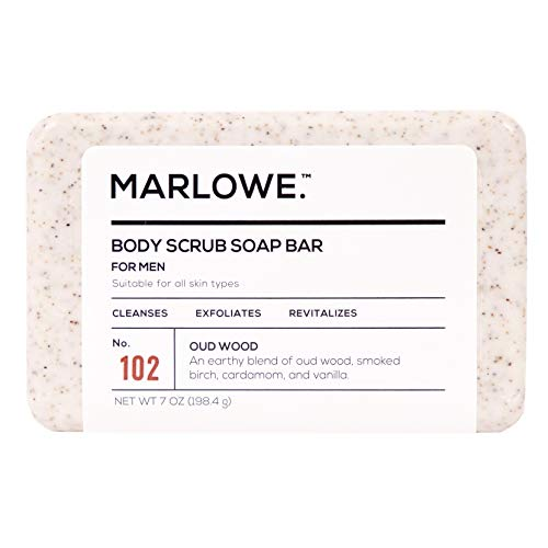 MARLOWE. No. 102 Men's Body Scrub Soap 7 oz   Earthy Oud Wood Scent   Best Exfoliating Bar for Men   Made with Natural Ingredients   Green Tea Extract   Updated Scent