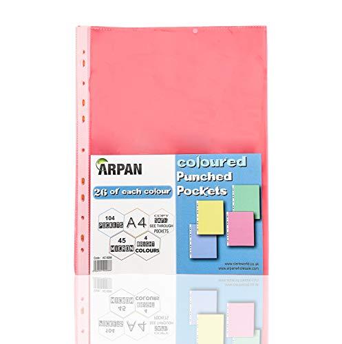 Fundas de plástico para documentos (tamaño A4, perforadas, varios colores), de Arpan A4 104