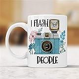 Taza de café con texto en inglés 'I Flash People', divertida taza de fotografía, regalo perfecto para fotógrafos, amantes de la fotografía