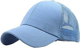 Mini personality baseball cap Baseball cap hat neutral solid cauda equina messy bun trucker plain baseball cap shade mesh casual outdoor sports (Color : Light blue)