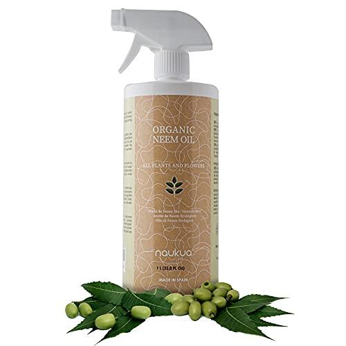 1L Aceite de Neem Orgánico para Plantas y Flores - 100% Natural y Sin Tóxicos - Protección y Defensa de Todo Tipo de Insectos, Plagas y Enfermedades - Interior y Exterior - Spray Listo Para Usar