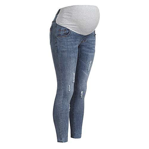 luoluoluo Jeans Premaman Donna,Leggings Premaman,Pantaloni Premaman Slim, Pantaloni Gravidanza in Acetato,M-XXXL (Light Blue, L)
