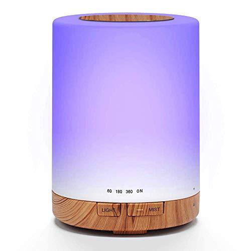 Pixier Difusor de Aceites Esenciales, Ultrasónico Humidificador, Lámpara Difusora Aromaterapia de Vapor Frío, 7 Colores de LED, Humificador de Aire para Yoga SPA Hogar Oficina, 300ML