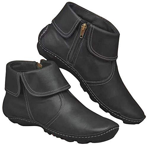 UMore Botines de Cuero Otoño Vintage con Cordones Zapatos de Mujer Botas cómodas de tacón Plano Cremallera Bota Alto Botas de Apoyo de Arco 2021 para Mujeres